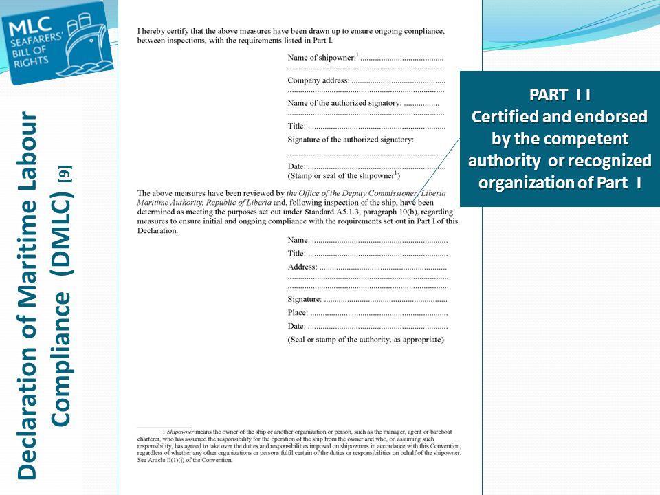 Declaration of Maritime Labour Compliance (DMLC) [9]